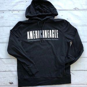 American Eagle mens Black Hoodie Sweatshirt